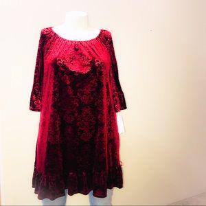 Fever Maroon Crushed Velvet Dress